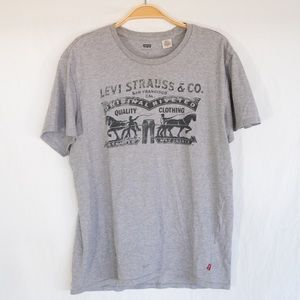 Levi's Two Horse Graphic Tee Shirt in Heather Grey